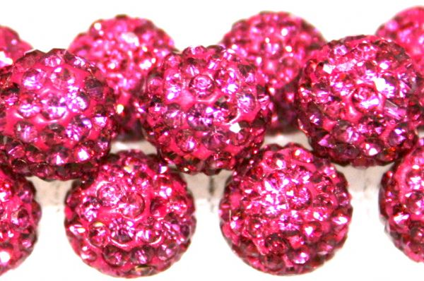 8mm Fuchsia Pink 70 StonePave Crystal Beads- Half Drilled  PCBHD08-070-024